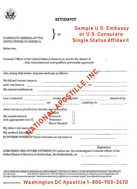 Apostille a Single Status Affidavit